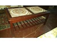 Old school Pottery - tile dark wood tea / coffee table