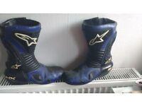 Blue alpine star boots size 9