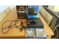 500gb ps4 with GTA5 and Black OPs 3 comes with 1 controller and all the leads