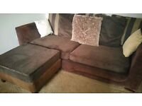 LUSH BROWN CORD CORNER TYPE SOFA FOR SALE.