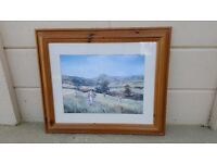 Pine framed glazed print of the Edwardian countryside