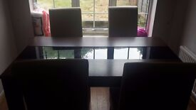 Dining Table and 4 White Leather Chairs