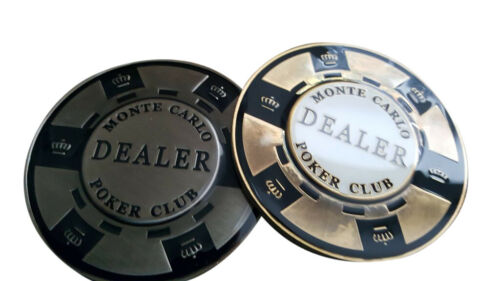 Monte Carlo Poker Dealer Button Metal Matching for Monte Carlo Poker Chips NEW