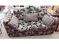 Brown Leaf Design 2 Seater Fabric Sofa