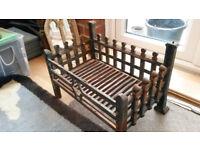 Large iron dog crate fire basket