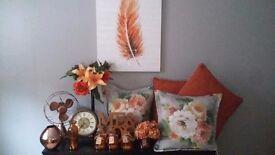Orange and rustic style decor