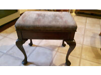 Piano stool adjustable height, curved legs, dark hardwood, , upholstered padded seat and storage