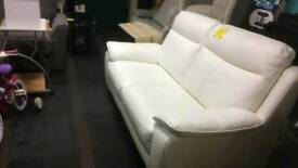 Ex display White Leather Sofa