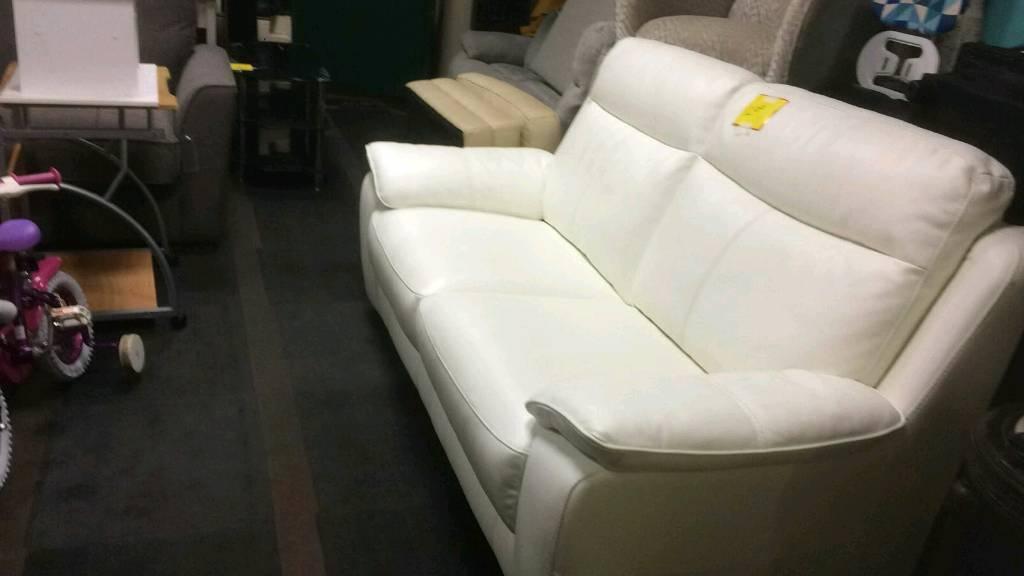 Ex display White Leather Sofa