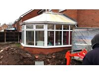 Used conservatory with laminate floor, ceiling fan light and radiator