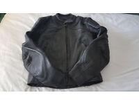 Ladies black leather motorcycle jacket