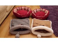 Two Cat Baskets and Two Crinkle Play Bags