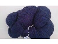 4 skeins pure Aran wool Blue Marle