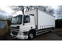 2007 57 PLATE DAF CF 18 TON BOX CURTAIN SIDE SLEEPER CAB LORRY + TAIL LIFT + IDEAL SCAFFOLD TRUCK
