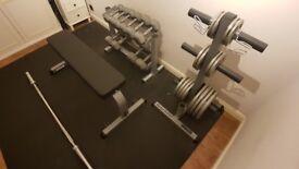 Olympic Barbell 5 foot, Plates 75kg, Hex Dumbbells 90kg, Rack & Bench