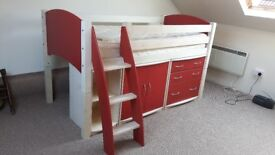 cresta Scallyway converable mid sleeper cabin bed in good used condition with cupboards underneath