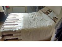 DOUBLE BED MATTRESS AND BASE WITH STORAGE SPACE (SECOND-HAND)
