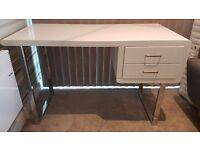High Gloss White Two Drawer Desk