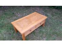 Solid wood oak coffee table with drawers