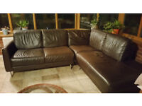 Brown leather L-shaped sofa - £150 - seats 5/6