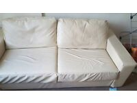 2 seater wide faux leather cream Nabru sofa