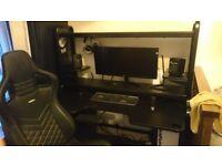 Gaming PC Setup i5 8600k 1070ti lg ultrawide corsair speakers headset noblechair desk
