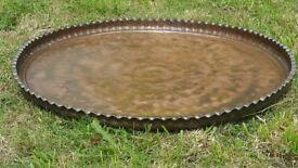 "Vintage Large Moroccan Circular Copper Tray Top 29"" (Or as low level Bird Bath)"