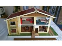 Oakleaf Dolls House, 1960-70's. Open to front, 6 rooms on 2 stories.