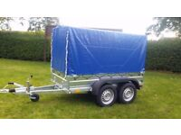 New trailer 8,2 x 4,2 twin axle with brakes and cover 2700 kg
