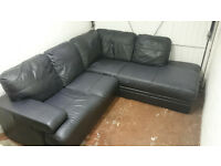Corner sofa. Black leather