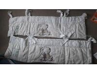 Cot bed quilt and bumper set