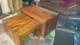 Rosewood Coffee Table w/ two lamp tables