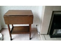 Folding Side Table with Drawer