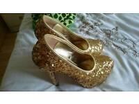 Gold sequin stilettos size 6