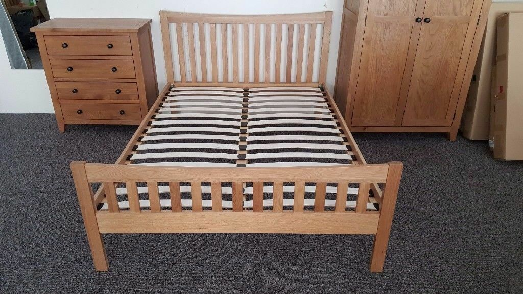 Julian Bowen Bergamo Oak Double Bed FREE DELIVERY DERBY NOTTINGHAM View Collect Welcome