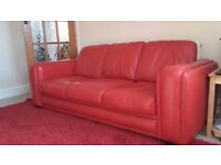 RED LEATHER SOFA SETTEE COUCH DFS