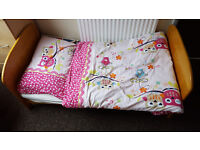 East Coast Angelina Cotbed / toddler bed for sale including fitted sheets (one waterproof)