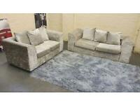 CRUSHED VELVET SOFA SET IN EXCELLENT CONDITION 3+2 seater