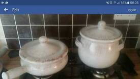 2 x large shabby chic terracotta pans rrp £100