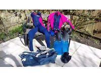 Wetsuit, fins, boots, gloves, mask & snorkel