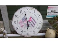 """USA THEMED LARGE - 24"""" dia - WALL CLOCK - MADE OF THICK CARDBOARD - REAL CLASSY"""