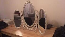 3 Panelled Shabby Chic Mirror