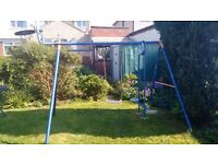 Garden swing set - two swings/monkey bars and two-seated glider/basketball hoop and backboard
