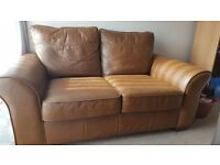 2 seater `NEXT` chocolate brown leather sofa