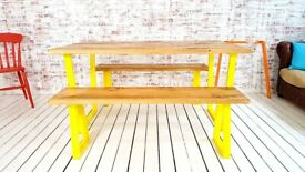 Any RAL Colour Powder Coating Dining Table Tapered Leg Industrial Kitchen Bench Sets