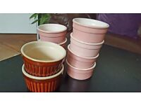 9 Mini pudding pots in pink and brown