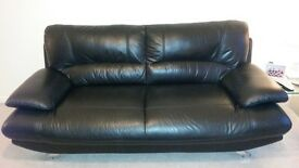 Black leather 3 and 2 seat sofas for sale