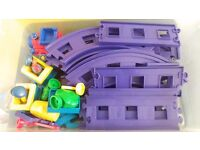 Happyland train set - track, battery powered engine, carriages etc