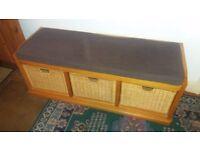 Wooden Bench with Wicker Under Storage For Sale!