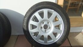 Audi A4/A6 etc 10spoke alloy wheel and tyre - near new condition